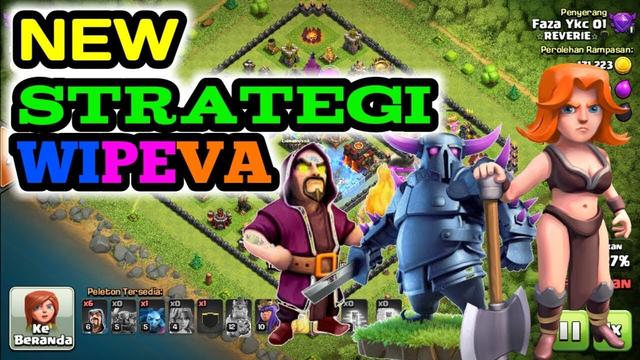 Replay Serangan th 10 New Strategi wipeva (wizard pekka valkry) | clash of clans indonesia