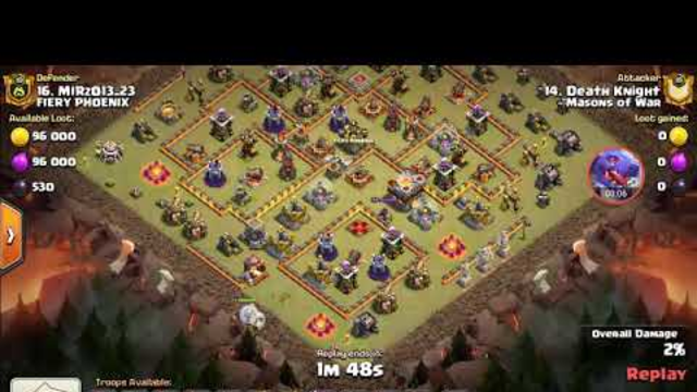 Clash of clans war attack dragons and bat spells th11