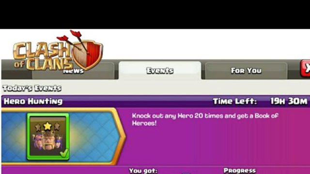 Let's complete this events and get book of hero in clash of clans - coc