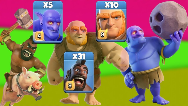 New CWL Attack 2019! 31 Hog +5 Bowler +10 Giant Destroy 3 Star Max TH12 Base | Clash Of Clans