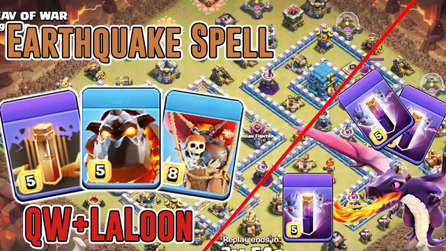 NEW EARTHQUAKE LALOON ATTACK - LAVALOON & BAT SPELL DRAG SMASH TH12 ( Clash of Clans )