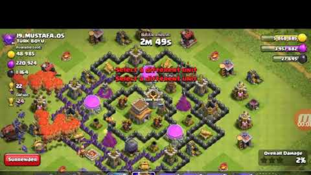 Attack on a th8 base clash of clans
