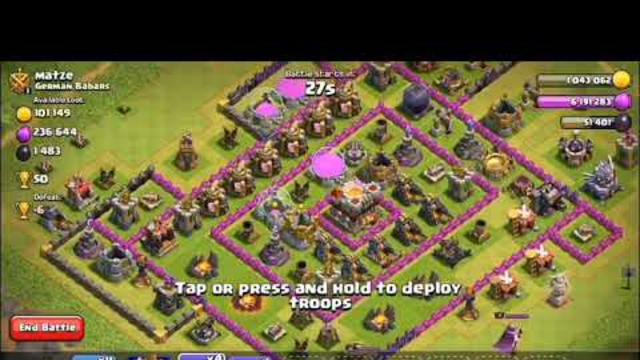 Clash of clans TH9 Attack