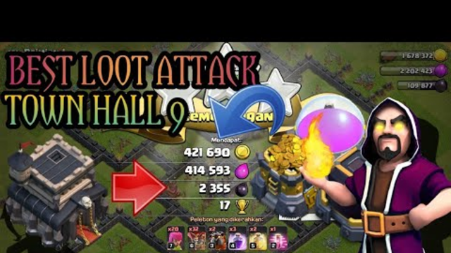 CLASH OF CLANS BEST LOOT ATTACK TOWN HALL 9 WITH BALLON AND LAVA BEGINI CARANYA!