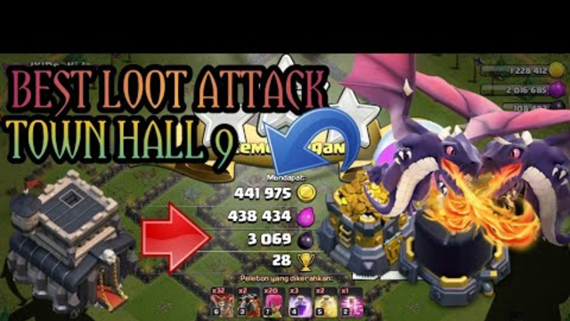 CLASH OF CLANS BEST LOOT ATTACK TOWN HALL 9 WITH BALLON AND LAVA BEGINI CARANYA !