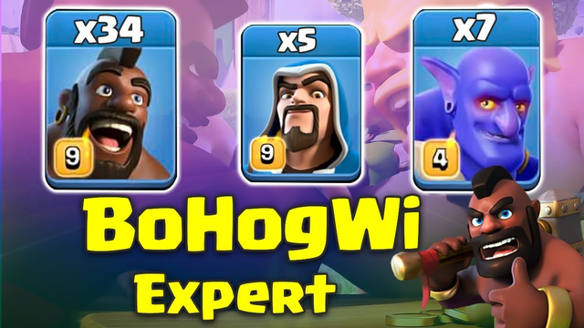 BoHogWi Expert Attack! 34 Max Hog 7 Max Bowler 5 Max Wizard 3star TH12 Base | Clash Of Clans