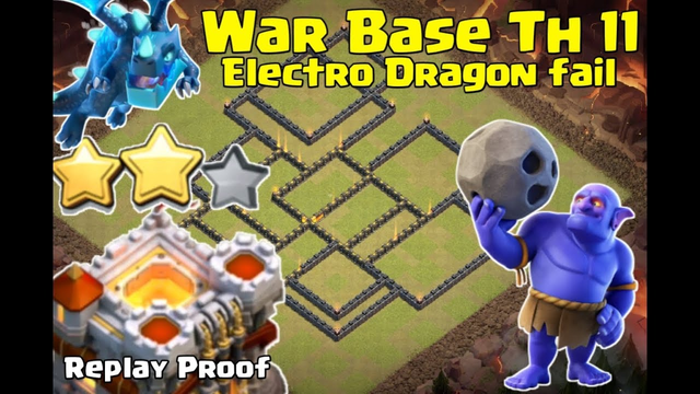 Clash of clans ll War Base anti Electro Dragon ll Anti 3 star replay proof