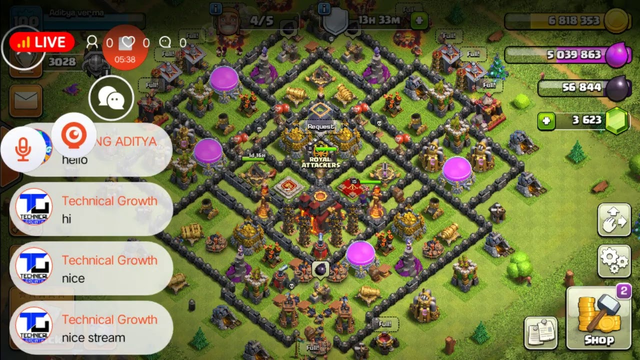 LIVE FARMING AND BASE VISITS COC