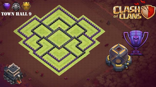 Town Hall 9 Trophy Base / Dark Elixir Base - Clash of Clans (TH9)