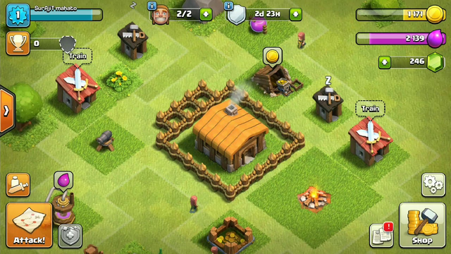 "CLASH OF CLANS *NEW TOWN HALL 2* NOOB ! gameplay defence STRATEGY/""* FARMING BASE"
