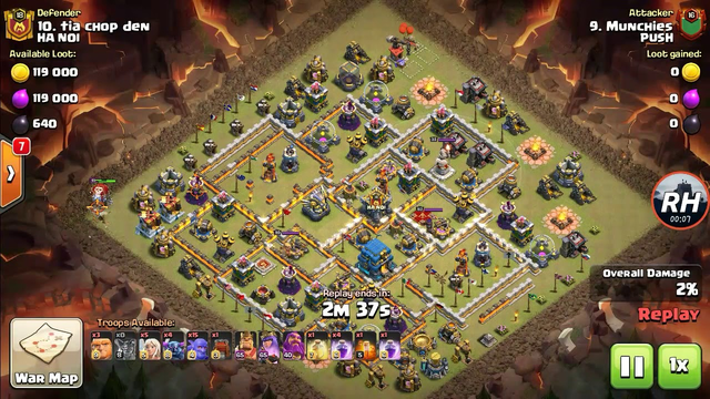 TH 12 New War Base Attack 3 Star | Pekka, Bowler And Healer | RH Gaming (Clash Of Clans)
