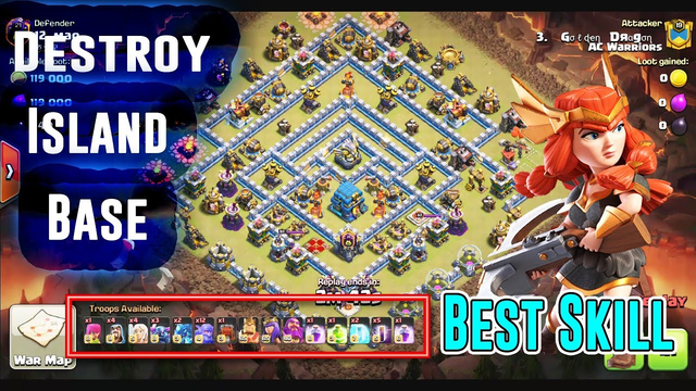 THE BEST SKILL PEBOBAT DESTROY ISLAND BASE TH12 3-STAR ( Clash of Clans )