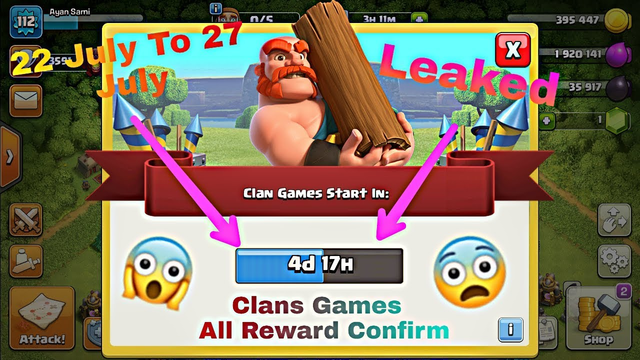 Clash of clans Clans games reward confirm