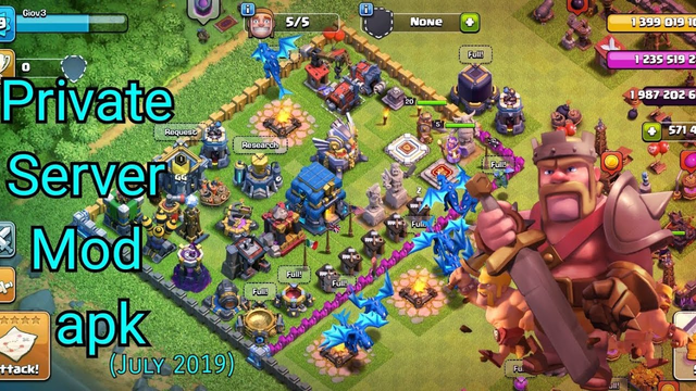 Clash Of Clans MOD- TH1 to TH12 with UNLIMITED RESOURCES