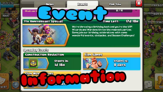 Upcoming event construction reduction full  information Clash of clans india