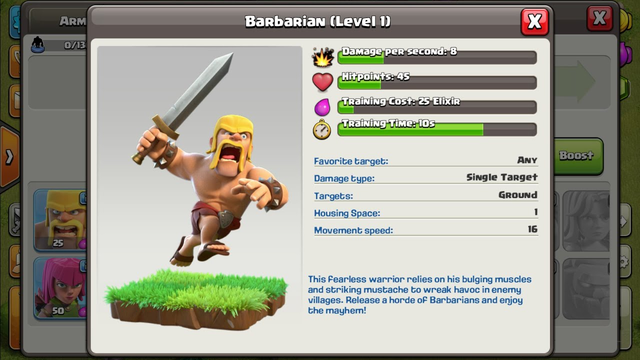 Clash of clans - 1 troops vs 1 base - episode 1 - Barbarians!