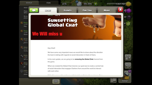 Global Chat SUNSETTING? Global Chat Dissolving in Clash of Clans! Sad