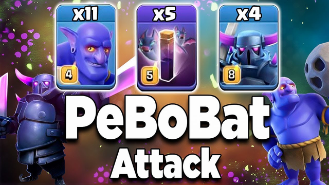 After Update PeBoBat Attack 2019! 11 Max Bowler 5 Max Bat Spell 4 Max Pekka | Clash of Clans