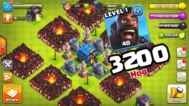 WOW 3200 HOG Level 1 Attack in Clash of Clans Private Server Mod Apk GamePlay New 2019! Share it!