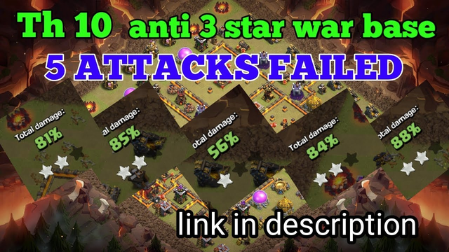 TH 10 Best Anti 3 star war base.5 attacks failed/clash of clans