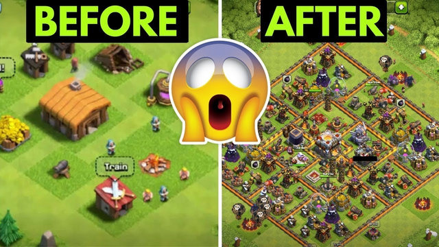 Going from Town Hall 1 to 11 in ONE Video - Clash of Clans