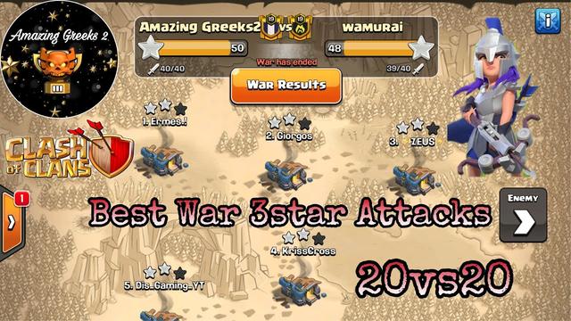 3star War Attacks CoC 20v20 | Amazing Greeks 2 - Clash of Clans