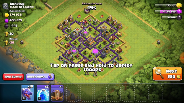 Clash of Clans|Townhall 8|Great loot | 370K+ gold and 400K+ elixer | Air attack