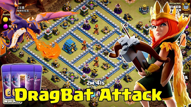 Dragon Attack - Max Dragon + Bat Freeze Spell Strategy TH12 3 Star ( clash of clans )
