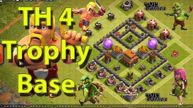 Clash Of Clans Town Hall 4 Trophy Base Designs 2019 | Town Hall 4 Trophy Base 2019 | PLOTS GAMING