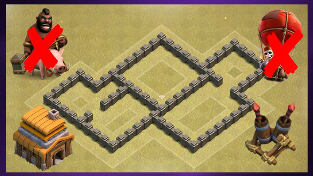 Best TH4 Anti 3 Star War Base Layout 2020 | Clash of Clans