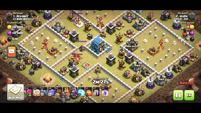 Clash of Clans. Bats Spell Attack TH 11
