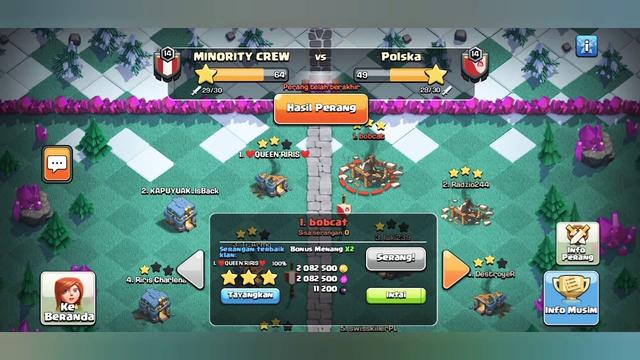 Clash Of Clans Clan war Liga(CWL) Brantas dengn berbagai macam strategi