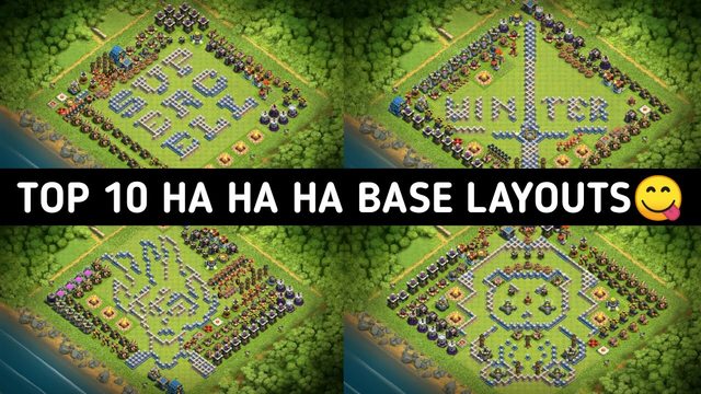 Top 10 funny base | Troll coc base design | Top 10 layout insanos | Haha base layout +link(cocth12)