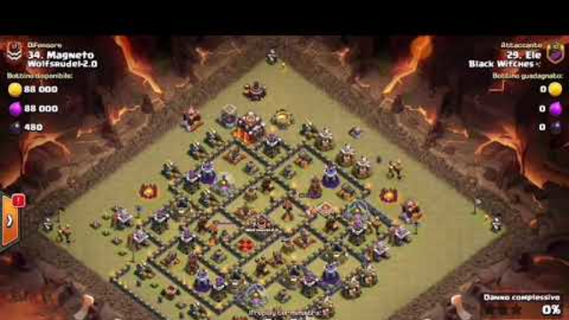 COC GREAT 3 STARS TH1O WAR ATTACK GOBOWI STRIKER ELE FROM CLAN BLACK WITCHES