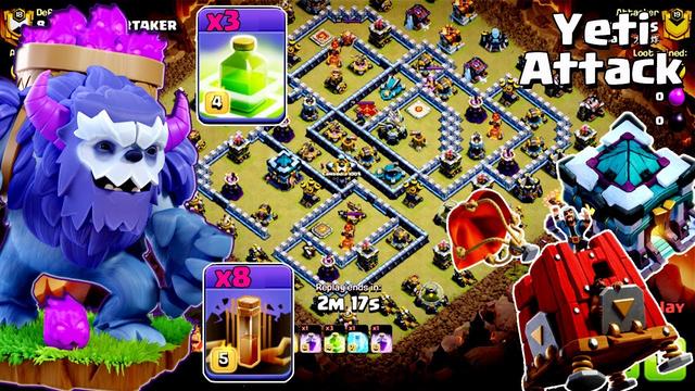 Easy 3 Star !! The Yeti with 3 Jump and 8 Earthquake Spell Attack TH13 War Base ( clash of clans )
