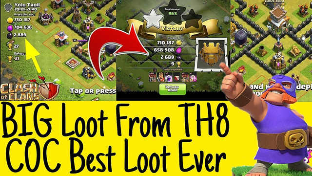 Got Big Loot From TH8 In Clash Of Clans | Clash Of Clans Big Loot Ever | Pakhtoon Clasher
