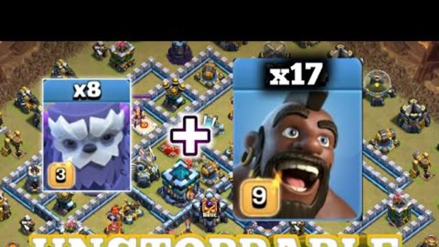 Unstoppable!! 8 Yeti + 17 Hog + 4 Esrth Spell!!! Th13 3 star attacks. coc