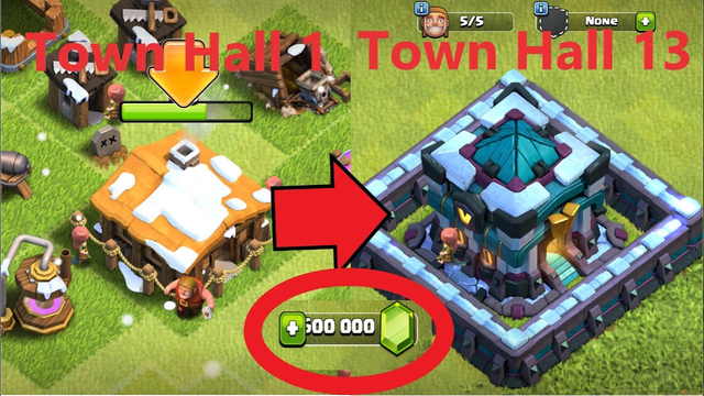 Clash of Clans Gemming from TH1 to TH13