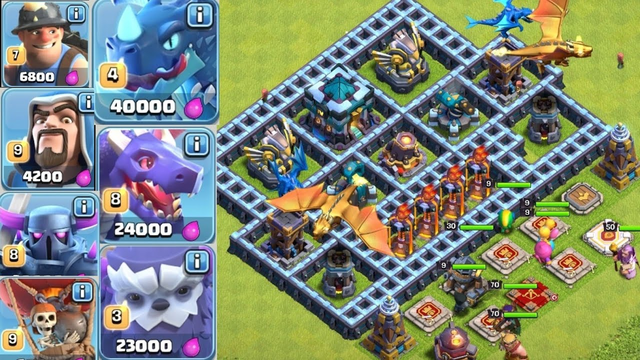 All troops vs massive defence in clash of clans....