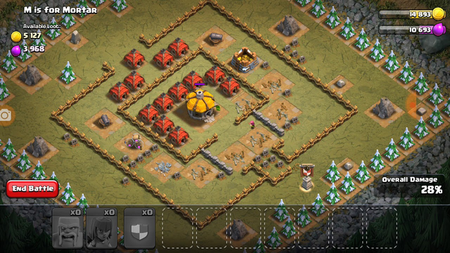 TH 3 goblin map attack with level 1 troops. Clash of clans.