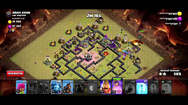 Th9: Best War Attacks Strategy Lava Loon + Queen Walk - Clash Of Clans