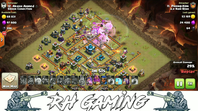 TH 13 New War Base Attack 3 Star   Bowler, Pekka And Bat Spell   RH Gaming (Clash Of Clans) #RH