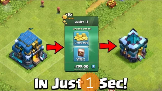 Town hall 13 in just 1 second clash of clans